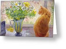 Striped Jug with Spring Flowers Greeting Card by Timothy Easton