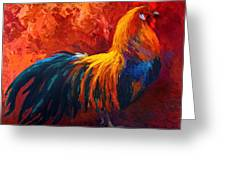 Strutting His Stuff - Rooster Greeting Card by Marion Rose