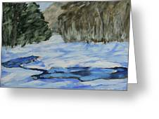 Study Sketch For Winter Creek Greeting Card by Jim Justinick