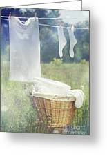 Summer Laundry Drying On Clothesline Greeting Card by Sandra Cunningham