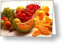 Summertime Fruit On White Greeting Card by Thomas Firak