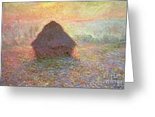 Sun In The Mist Greeting Card by Claude Monet