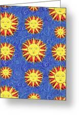 Sun King Pattern Greeting Card by John Keaton