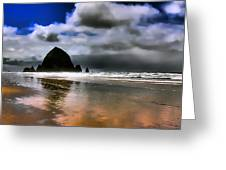 Sun Shining On Haystack Rock Greeting Card by David Patterson