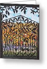 Sunflower Garden Gate Greeting Card by Sarah Hornsby