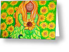 Sunflower Princess Greeting Card by Nick Gustafson