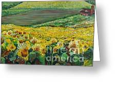 Sunflowers In Provence Greeting Card by Nadine Rippelmeyer