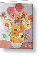 Sunflowers-original Pallet Knife Painting On Wood Panel Greeting Card by Vesna Antic