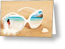 Sunglasses In The Sand Greeting Card by Amanda Elwell