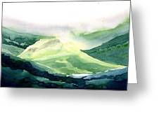 Sunlit Mountain Greeting Card by Anil Nene