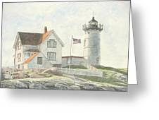 Sunrise at Nubble Light Greeting Card by Dominic White