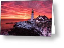 Sunrise At Portland Head Lighthouse Greeting Card by Benjamin Williamson