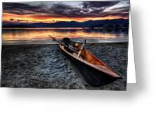 Sunrise Boat Greeting Card by Matt Hanson