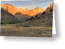 Sunrise On East Temple Greeting Card by Sandra Bronstein