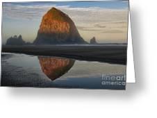 Sunrise on Haystack Rock - Oregon Greeting Card by Sandra Bronstein