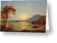Sunset - Lake George Greeting Card by Jasper Francis Cropsey