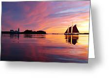 Sunset At Head Harbor Greeting Card by Don Dunbar