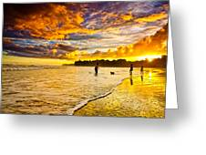 Sunset At The Coast Greeting Card by Iris Greenwell