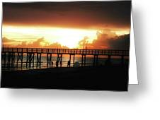 Sunset At The Pier Greeting Card by Bill Cannon