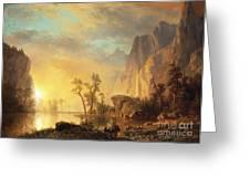 Sunset In The Rockies Greeting Card by Albert Bierstadt