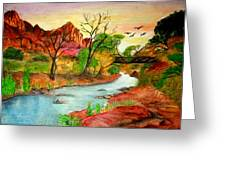 Sunset In Zion Greeting Card by Joanna Aud