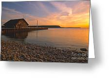 Sunset On Anderson's Dock - Door County Greeting Card by Sandra Bronstein