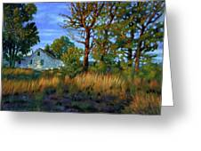 Sunset On Country Home Greeting Card by John Lautermilch