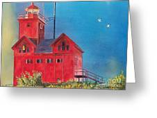Sunset On Holland Light Greeting Card by LeAnne Sowa
