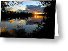 Sunset On Polly Lake Greeting Card by Larry Ricker