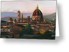 Sunset On The Duomo Greeting Card by Leah Wiedemer