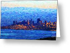 Sunset Over San Francisco Bay Greeting Card by Wingsdomain Art and Photography