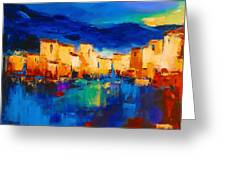 Sunset Over the Village Greeting Card by Elise Palmigiani