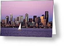 Sunset Sail In Puget Sound Greeting Card by Adam Romanowicz