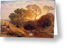 Sunset Greeting Card by Samuel Palmer