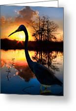 Sunset Silhouette Greeting Card by Debra and Dave Vanderlaan