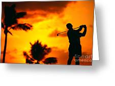 Sunset Silhouetted Golfer Greeting Card by Dana Edmunds - Printscapes