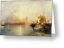 Sunset Venice Greeting Card by Thomas Moran
