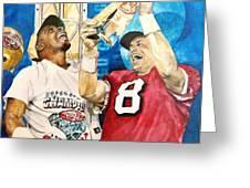Super Bowl Legends Greeting Card by Lance Gebhardt