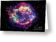 Supernova Remnant Cassiopeia A Greeting Card by Stocktrek Images