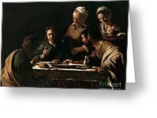 Supper At Emmaus Greeting Card by Michelangelo Merisi da Caravaggio