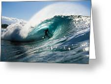 Surfer At Pipeline Greeting Card by Vince Cavataio - Printscapes