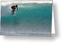 Surfer dropping in the blue waves at Dumps Maui Hawaii Greeting Card by Pierre Leclerc Photography