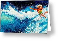 Surfer Girl Greeting Card by Hanne Lore Koehler