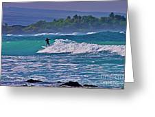 Surfer Rides The Outside Break Greeting Card by Bette Phelan