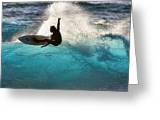 Surfer Silhouette Greeting Card by Geoff Tydeman