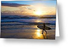 Surfer Sunset Greeting Card by Deborah Rosier