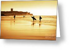 Surfers Silhouettes Greeting Card by Carlos Caetano