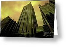 Surreal View Of Ppg Plaza Pittsburgh Greeting Card by Amy Cicconi