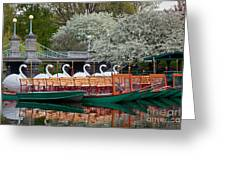 Swan Boat Spring Greeting Card by Susan Cole Kelly