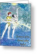 Swan Lake Ballet Poster Greeting Card by Marie Loh